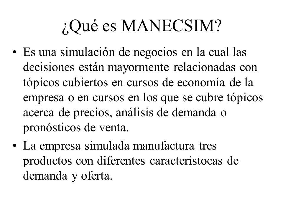 ¿Qué es MANECSIM? Es una simulación de negocios en la cual las decisiones están mayormente relacionadas con tópicos cubiertos en cursos de economía de