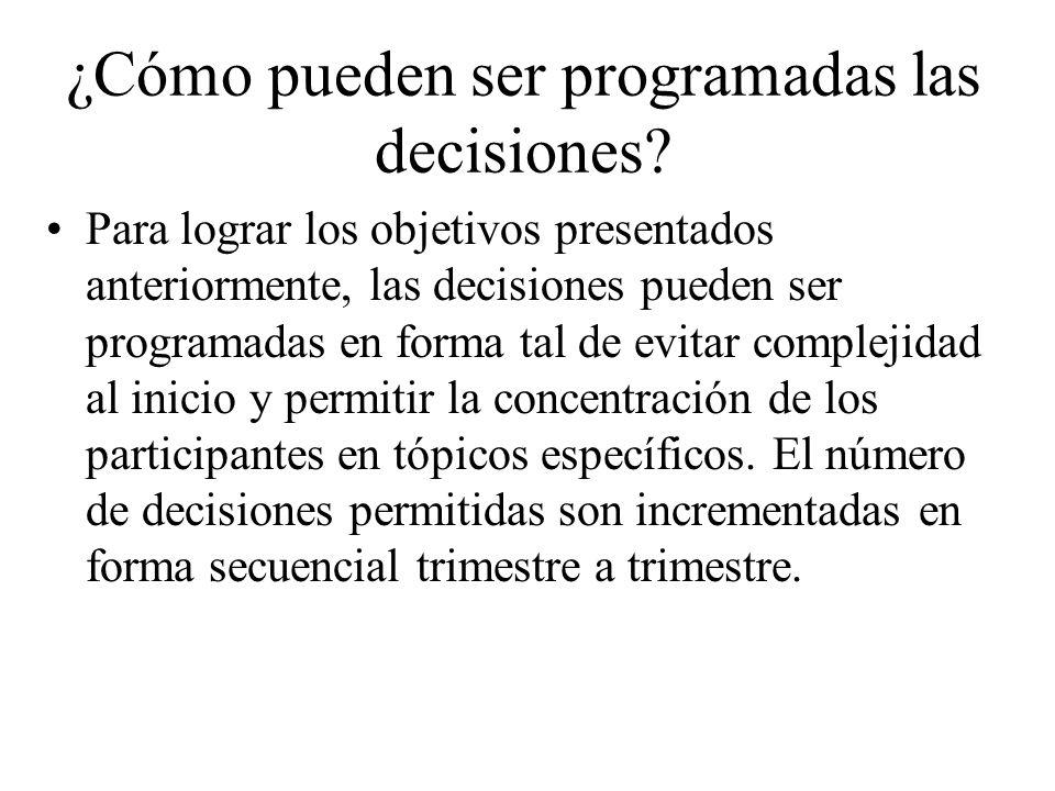 ¿Cómo pueden ser programadas las decisiones? Para lograr los objetivos presentados anteriormente, las decisiones pueden ser programadas en forma tal d