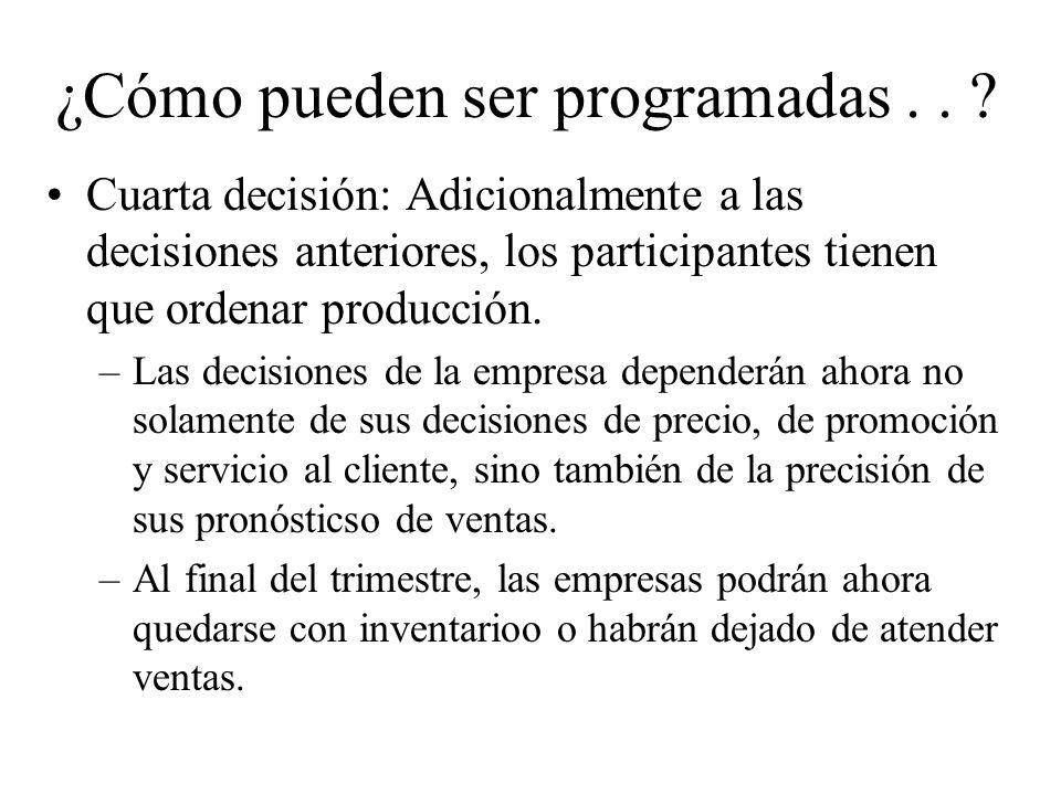 Cuarta decisión: Adicionalmente a las decisiones anteriores, los participantes tienen que ordenar producción.