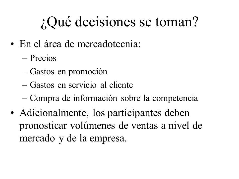 ¿Qué decisiones se toman? En el área de mercadotecnia: –Precios –Gastos en promoción –Gastos en servicio al cliente –Compra de información sobre la co