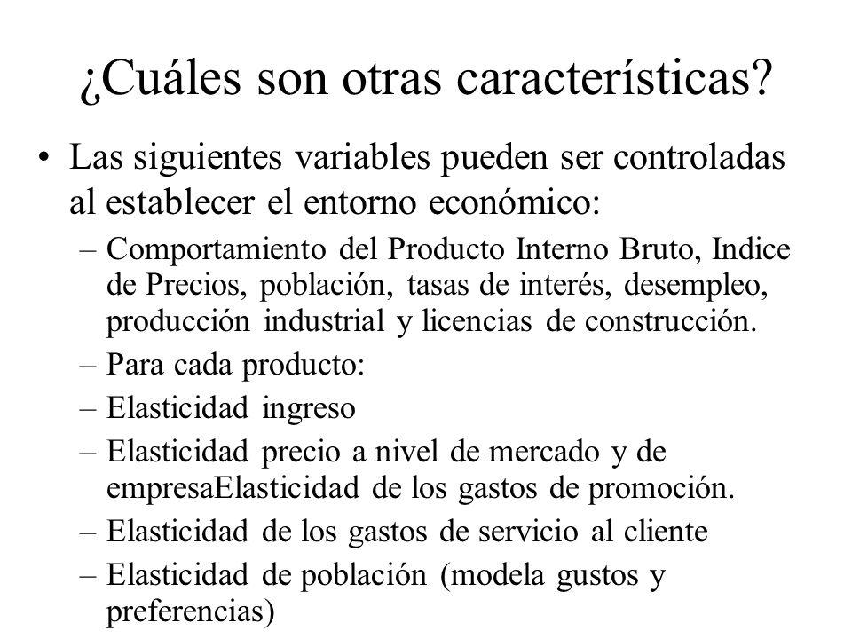 Las siguientes variables pueden ser controladas al establecer el entorno económico: –Comportamiento del Producto Interno Bruto, Indice de Precios, población, tasas de interés, desempleo, producción industrial y licencias de construcción.