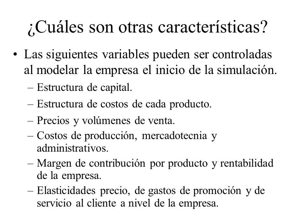 Las siguientes variables pueden ser controladas al modelar la empresa el inicio de la simulación. –Estructura de capital. –Estructura de costos de cad