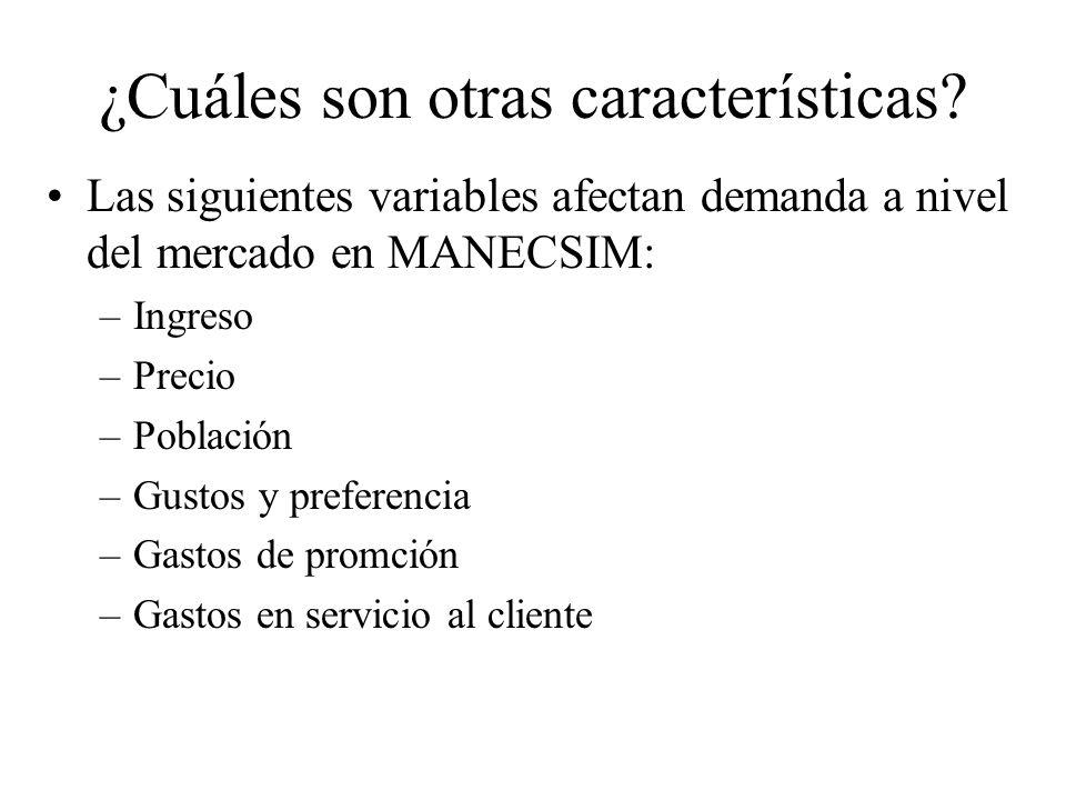Las siguientes variables afectan demanda a nivel del mercado en MANECSIM: –Ingreso –Precio –Población –Gustos y preferencia –Gastos de promción –Gastos en servicio al cliente ¿Cuáles son otras características?
