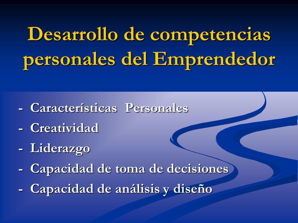 Desarrollo de competencias personales del Emprendedor - Características Personales - Creatividad - Liderazgo - Capacidad de toma de decisiones - Capac