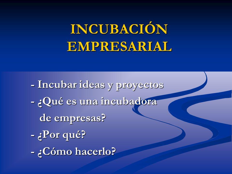 INCUBACIÓN EMPRESARIAL - Incubar ideas y proyectos - ¿Qué es una incubadora de empresas? - ¿Por qué? - ¿Cómo hacerlo?