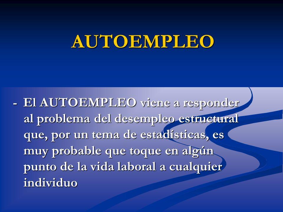 AUTOEMPLEO - El AUTOEMPLEO viene a responder al problema del desempleo estructural que, por un tema de estadísticas, es muy probable que toque en algú