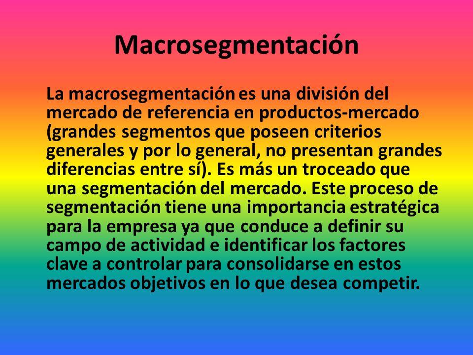 Macrosegmentación y microsegmentación Hay dos niveles de segmentación del mercado, la macrosegmentación (se diferencian los producto-mercados) y la microsegmentación (es identificar segmentos de consumidores dentro de los producto- mercados), que han de ser secuenciales.