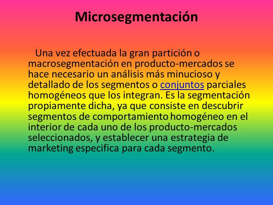 En resumen, la macrosegmentación está dada por: Mercado de usuarios finales. Aplicación del producto. Tamaño del mercado. Proporciones en el uso del p