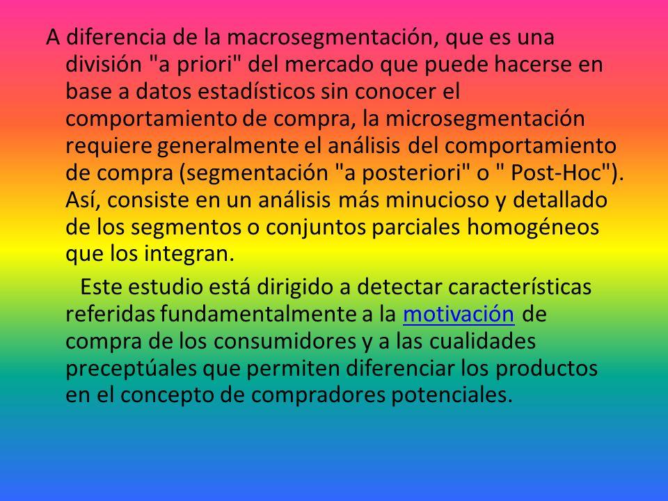 Microsegmentación Una vez efectuada la gran partición o macrosegmentación en producto-mercados se hace necesario un análisis más minucioso y detallado de los segmentos o conjuntos parciales homogéneos que los integran.