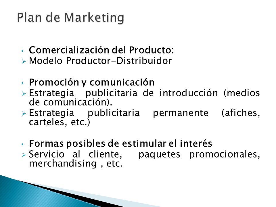 Comercialización del Producto: Modelo Productor-Distribuidor Promoción y comunicación Estrategia publicitaria de introducción (medios de comunicación)
