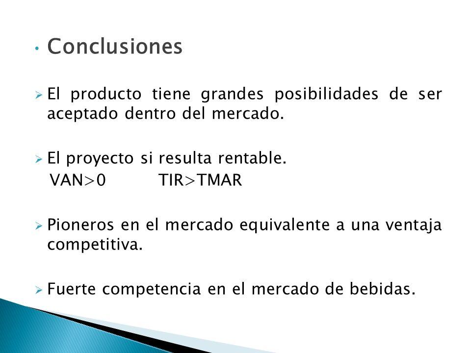 Conclusiones El producto tiene grandes posibilidades de ser aceptado dentro del mercado. El proyecto si resulta rentable. VAN>0 TIR>TMAR Pioneros en e