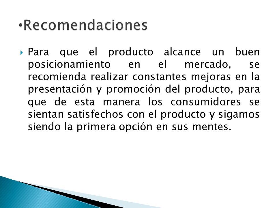 Para que el producto alcance un buen posicionamiento en el mercado, se recomienda realizar constantes mejoras en la presentación y promoción del produ