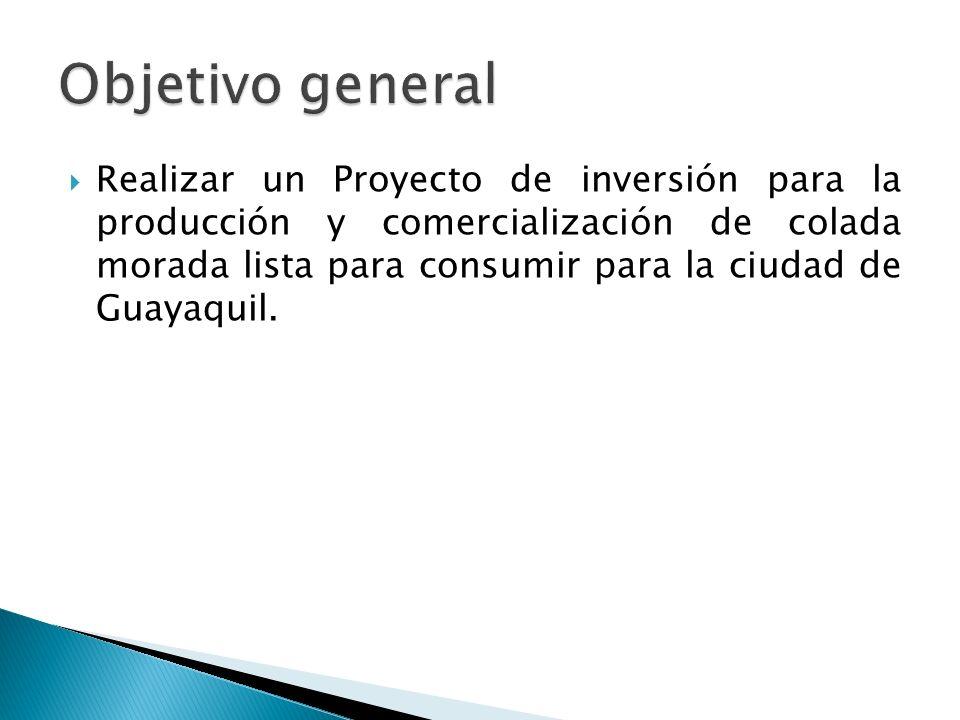 Realizar un Proyecto de inversión para la producción y comercialización de colada morada lista para consumir para la ciudad de Guayaquil.