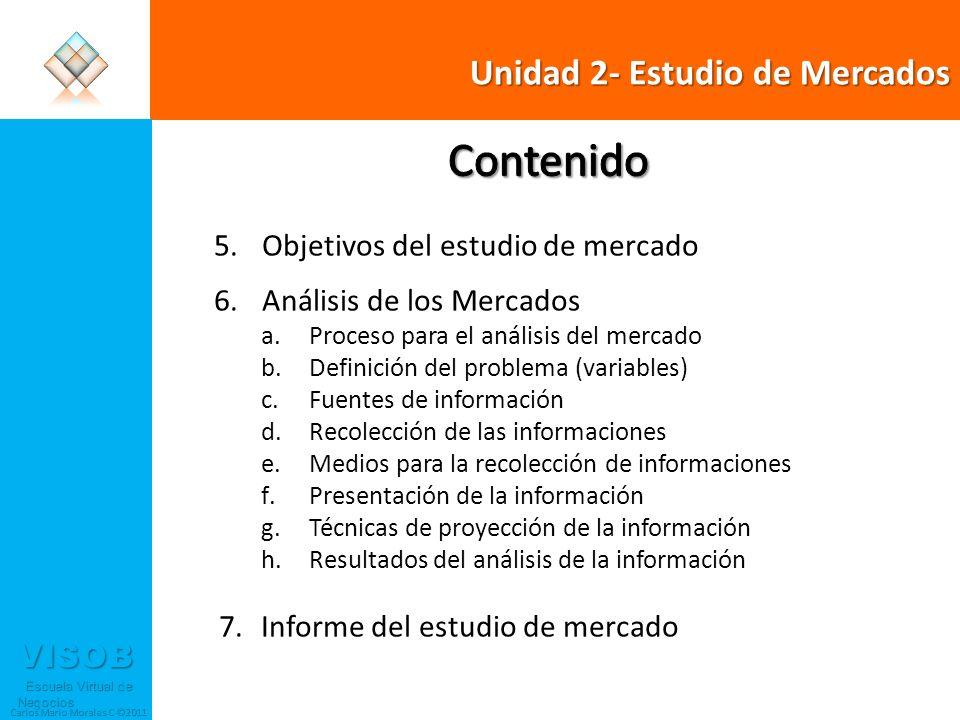 VISOB Escuela Virtual de Negocios Escuela Virtual de Negocios Carlos Mario Morales C ©2011 6 Proceso para el Análisis del Mercado Se definen los mercados y variables que se deben estudiar para posicionar el producto Se seleccionan las fuentes primarias y secundarias a través de las cuales se van estudiar las variables Se definen medios y forma como se va a recoger la información de las distintas variables Análisis y Proyecciones de las variables del proyecto Resultados de acuerdo a objetivos