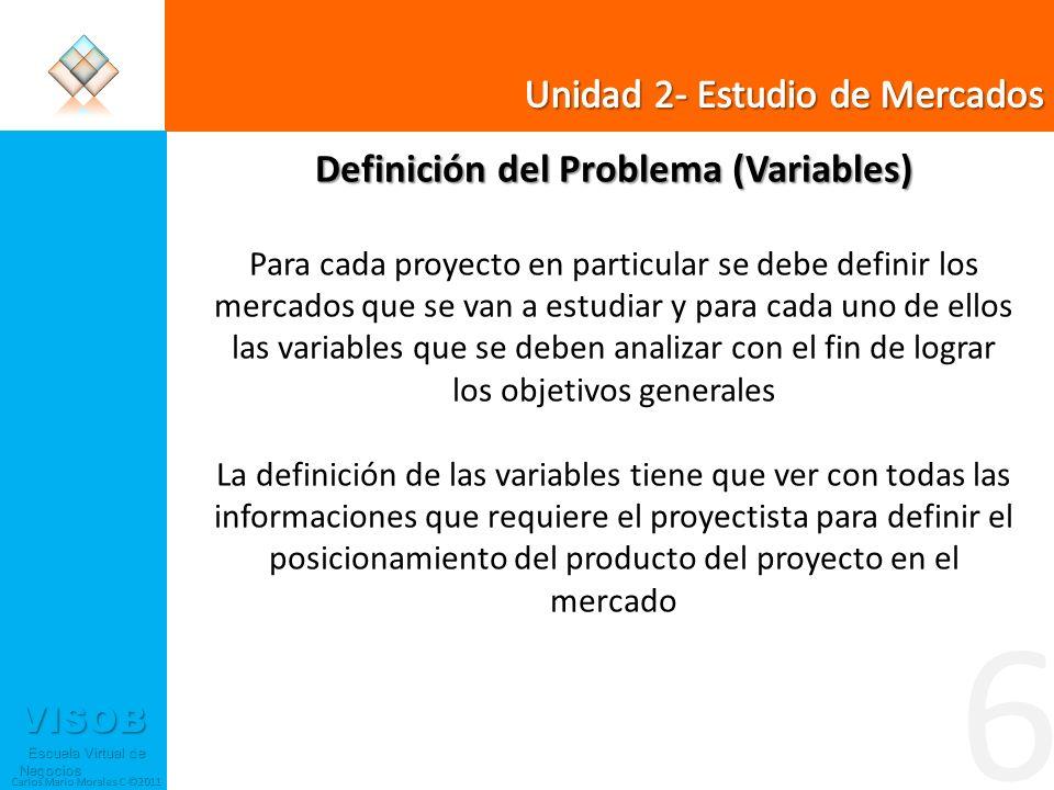 VISOB Escuela Virtual de Negocios Escuela Virtual de Negocios Carlos Mario Morales C ©2011 6 Definición del Problema (Variables) Para cada proyecto en