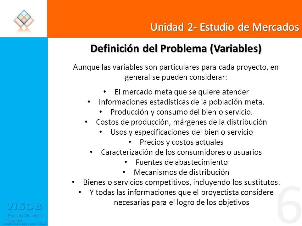 VISOB Escuela Virtual de Negocios Escuela Virtual de Negocios Carlos Mario Morales C ©2011 6 Definición del Problema (Variables) Aunque las variables
