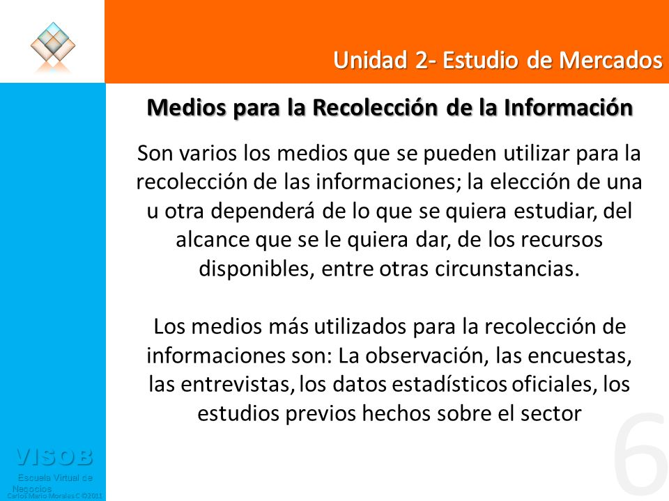 VISOB Escuela Virtual de Negocios Escuela Virtual de Negocios Carlos Mario Morales C ©2011 6 Medios para la Recolección de la Información Son varios l