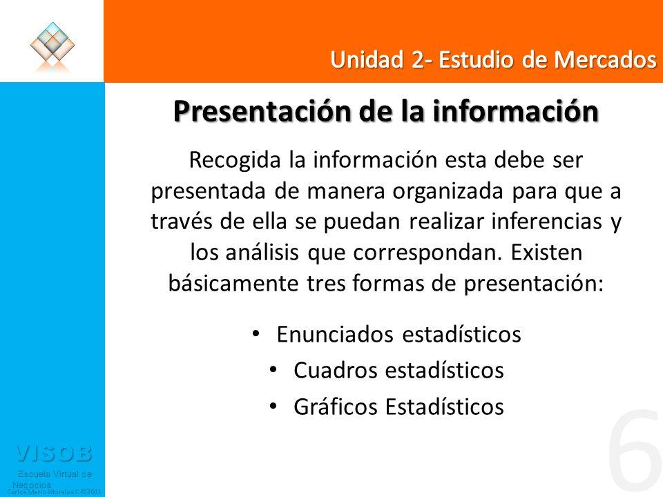 VISOB Escuela Virtual de Negocios Escuela Virtual de Negocios Carlos Mario Morales C ©2011 6 Presentación de la información Recogida la información es
