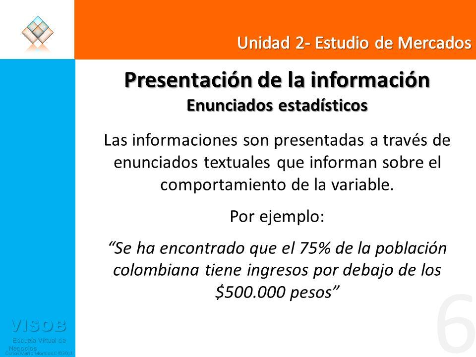 VISOB Escuela Virtual de Negocios Escuela Virtual de Negocios Carlos Mario Morales C ©2011 6 Presentación de la información Enunciados estadísticos La