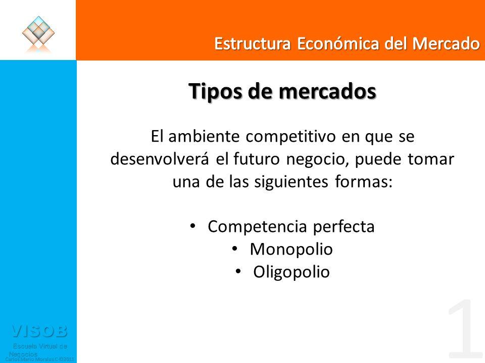 VISOB Escuela Virtual de Negocios Escuela Virtual de Negocios Carlos Mario Morales C ©2011 Tipos de mercados El ambiente competitivo en que se desenvo
