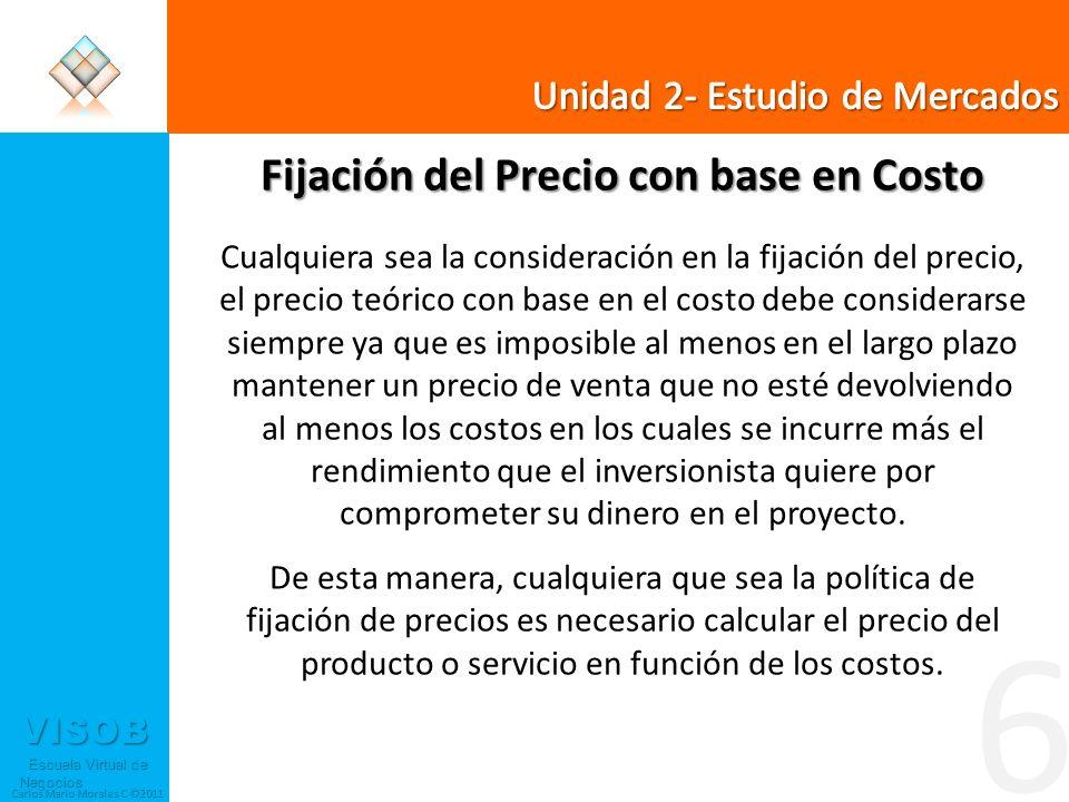 VISOB Escuela Virtual de Negocios Escuela Virtual de Negocios Carlos Mario Morales C ©2011 6 Fijación del Precio con base en Costo Cualquiera sea la c