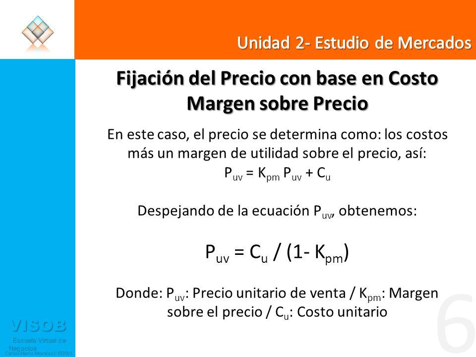 VISOB Escuela Virtual de Negocios Escuela Virtual de Negocios Carlos Mario Morales C ©2011 6 Fijación del Precio con base en Costo Margen sobre Precio