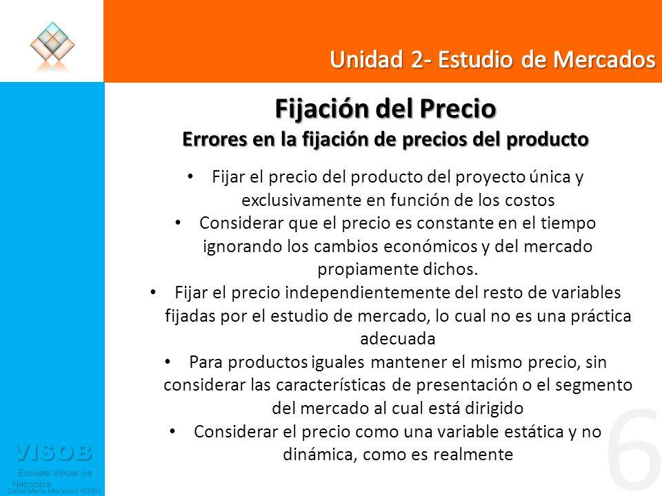 VISOB Escuela Virtual de Negocios Escuela Virtual de Negocios Carlos Mario Morales C ©2011 6 Fijación del Precio Errores en la fijación de precios del