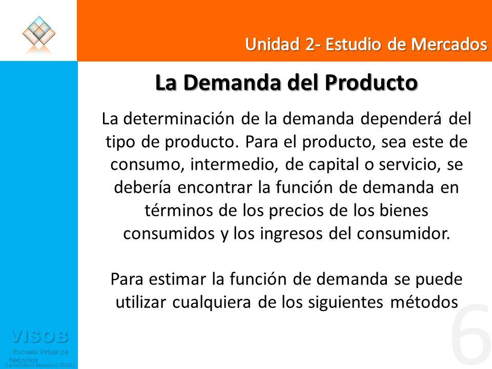 VISOB Escuela Virtual de Negocios Escuela Virtual de Negocios Carlos Mario Morales C ©2011 6 La Demanda del Producto La determinación de la demanda de