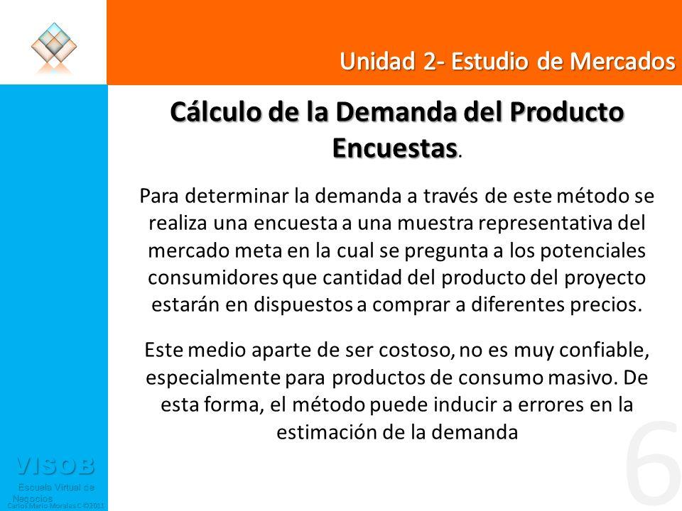VISOB Escuela Virtual de Negocios Escuela Virtual de Negocios Carlos Mario Morales C ©2011 6 Cálculo de la Demanda del Producto Encuestas Encuestas. P
