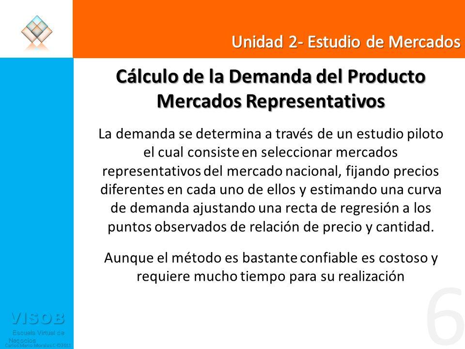 VISOB Escuela Virtual de Negocios Escuela Virtual de Negocios Carlos Mario Morales C ©2011 6 Cálculo de la Demanda del Producto Mercados Representativ