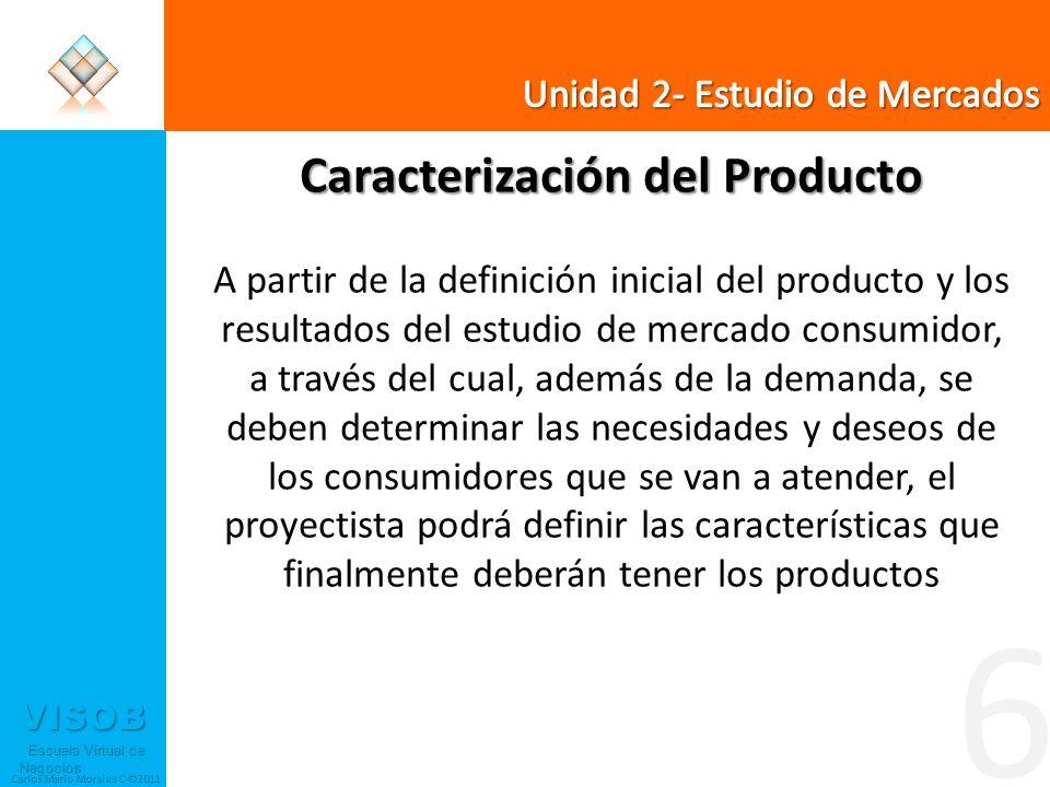 VISOB Escuela Virtual de Negocios Escuela Virtual de Negocios Carlos Mario Morales C ©2011 6 Caracterización del Producto A partir de la definición in