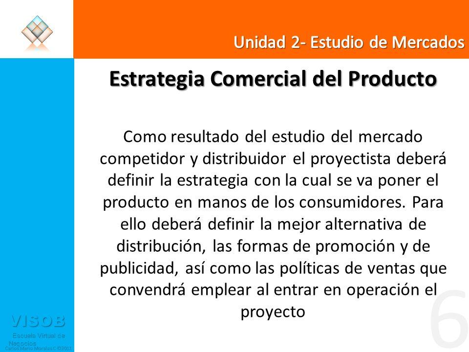 VISOB Escuela Virtual de Negocios Escuela Virtual de Negocios Carlos Mario Morales C ©2011 6 Estrategia Comercial del Producto Como resultado del estu