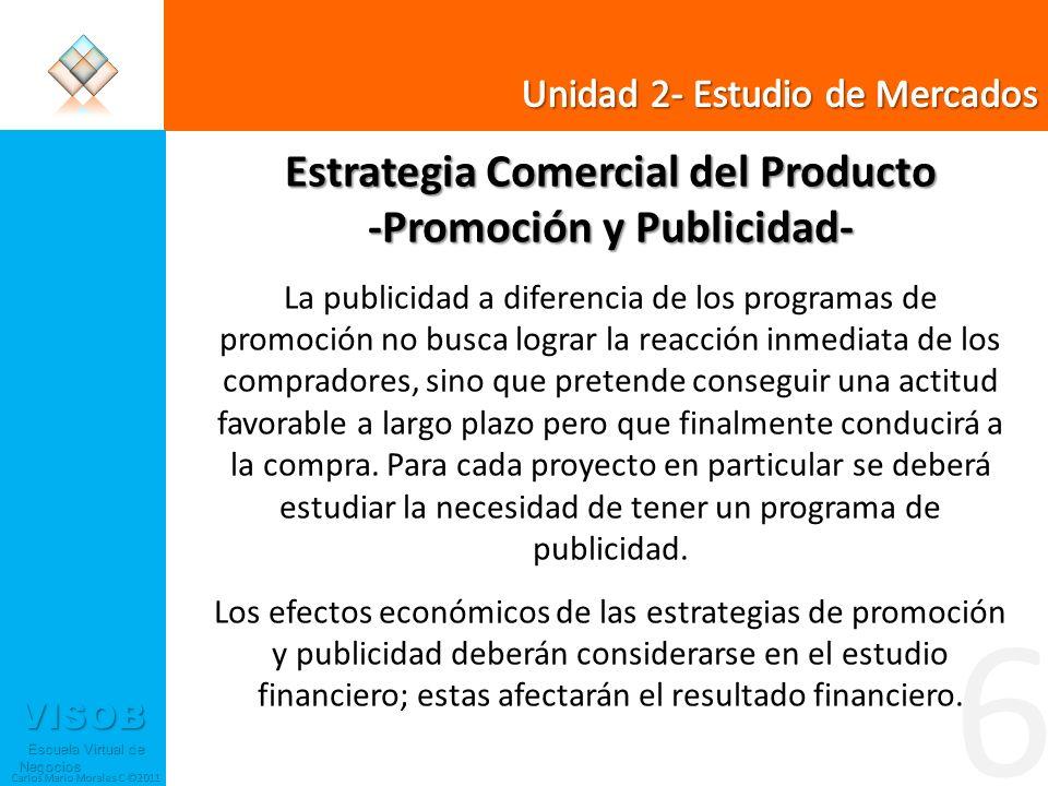 VISOB Escuela Virtual de Negocios Escuela Virtual de Negocios Carlos Mario Morales C ©2011 6 Estrategia Comercial del Producto -Promoción y Publicidad