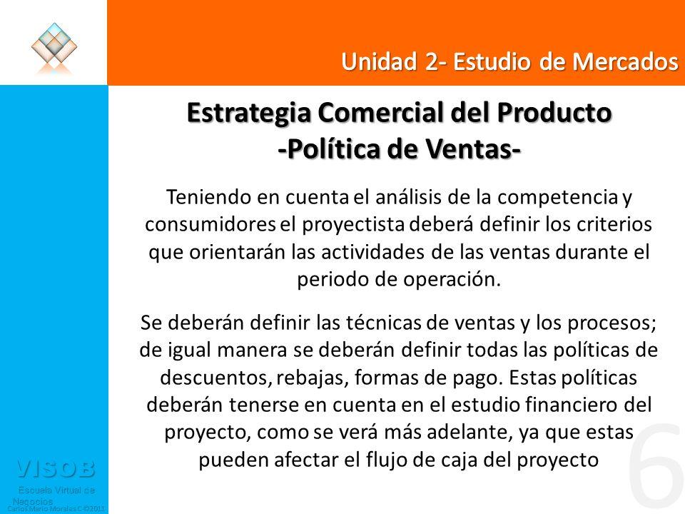 VISOB Escuela Virtual de Negocios Escuela Virtual de Negocios Carlos Mario Morales C ©2011 6 Estrategia Comercial del Producto -Política de Ventas- Te