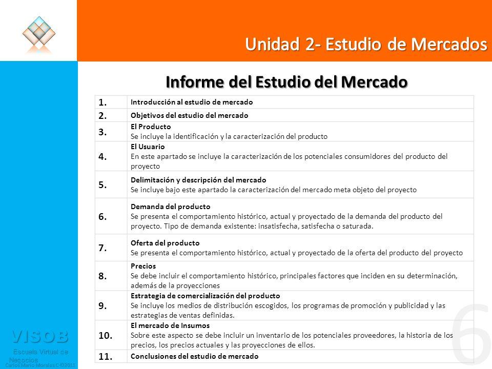 VISOB Escuela Virtual de Negocios Escuela Virtual de Negocios Carlos Mario Morales C ©2011 6 Informe del Estudio del Mercado 1. Introducción al estudi