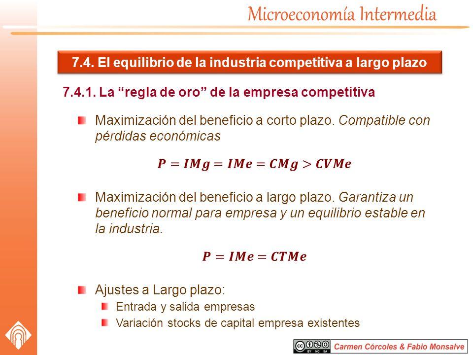 7.4. El equilibrio de la industria competitiva a largo plazo 7.4.1. La regla de oro de la empresa competitiva
