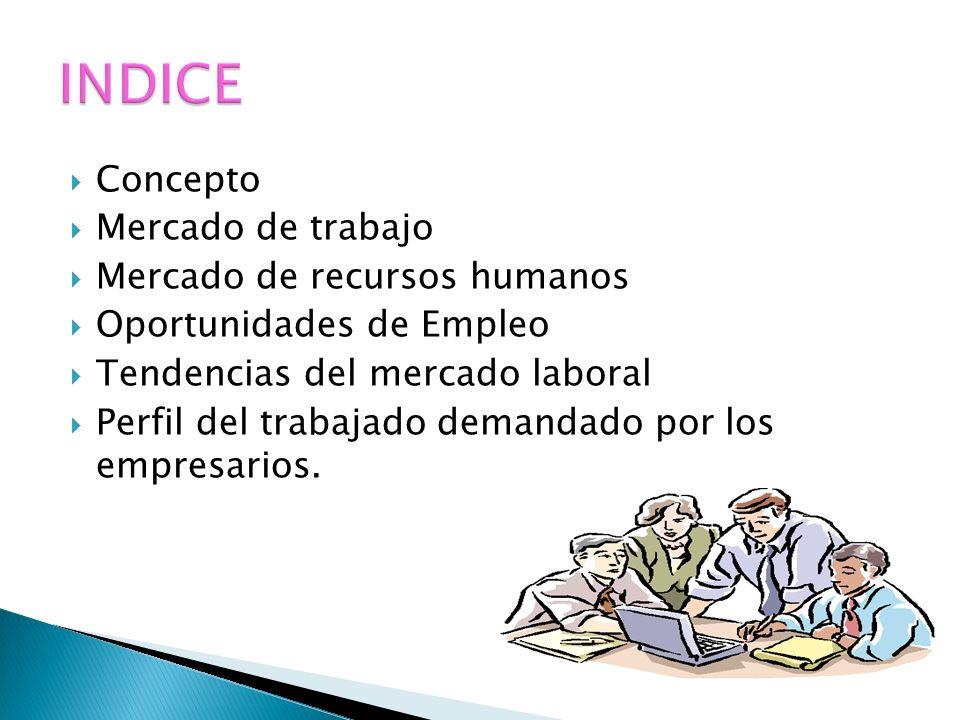 Concepto Mercado de trabajo Mercado de recursos humanos Oportunidades de Empleo Tendencias del mercado laboral Perfil del trabajado demandado por los empresarios.