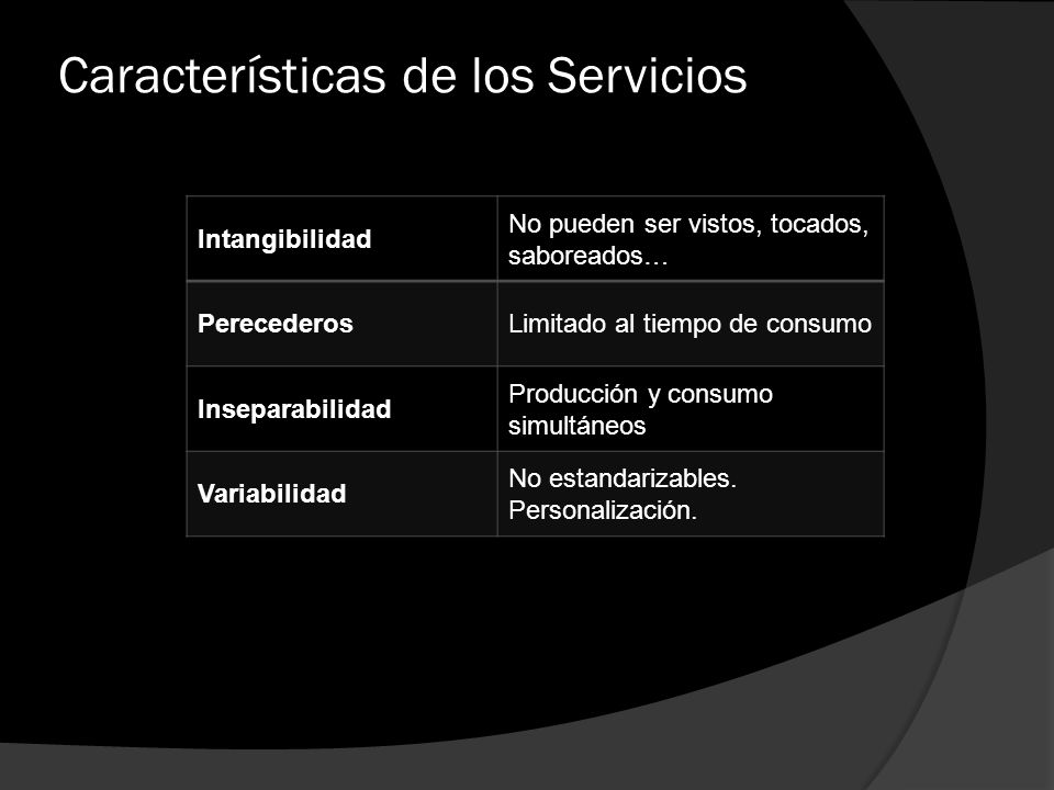 Características de los Servicios Intangibilidad No pueden ser vistos, tocados, saboreados… PerecederosLimitado al tiempo de consumo Inseparabilidad Pr