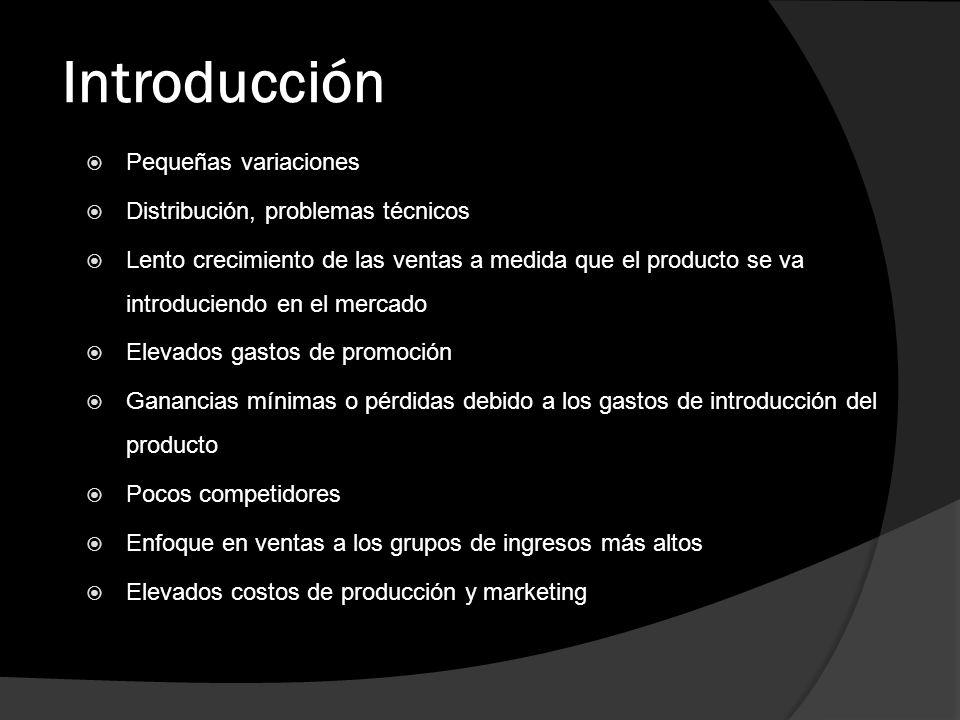 Introducción Pequeñas variaciones Distribución, problemas técnicos Lento crecimiento de las ventas a medida que el producto se va introduciendo en el