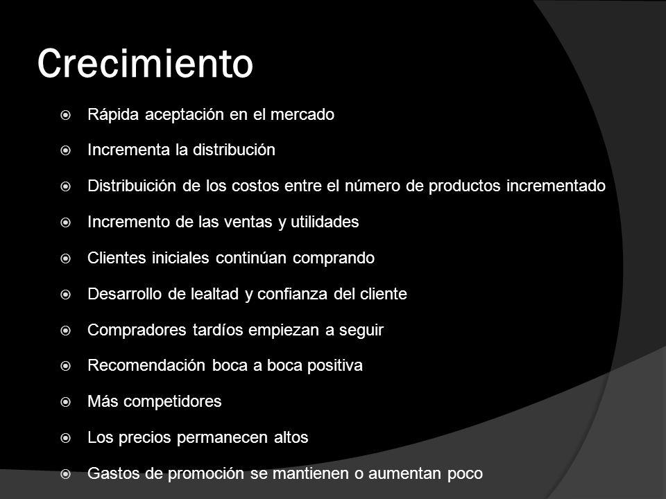 Crecimiento Rápida aceptación en el mercado Incrementa la distribución Distribuición de los costos entre el número de productos incrementado Increment
