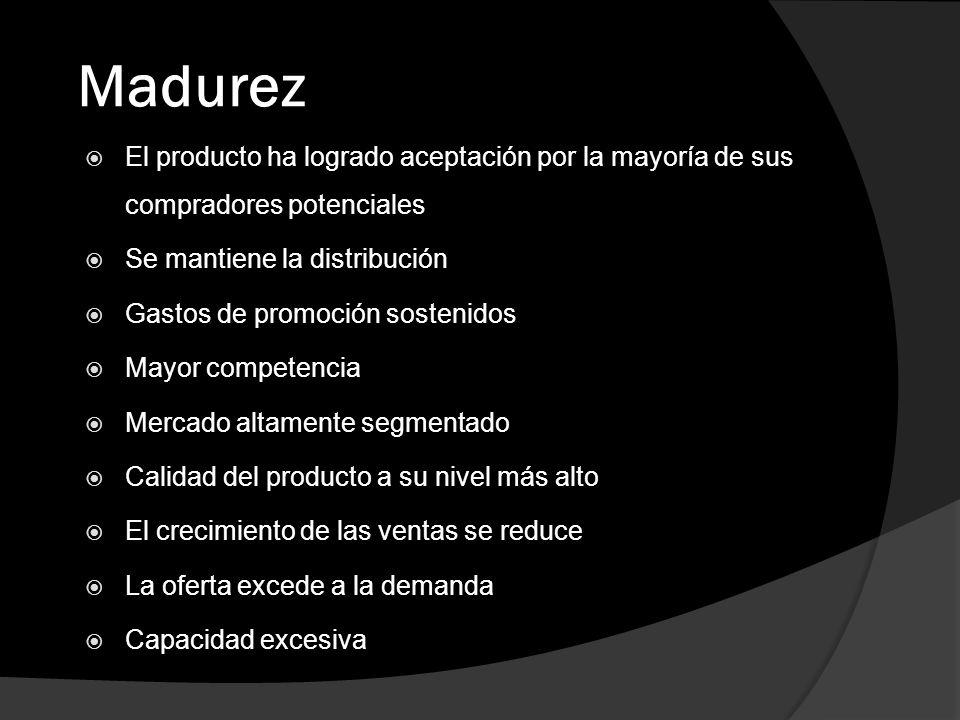 Madurez El producto ha logrado aceptación por la mayoría de sus compradores potenciales Se mantiene la distribución Gastos de promoción sostenidos May