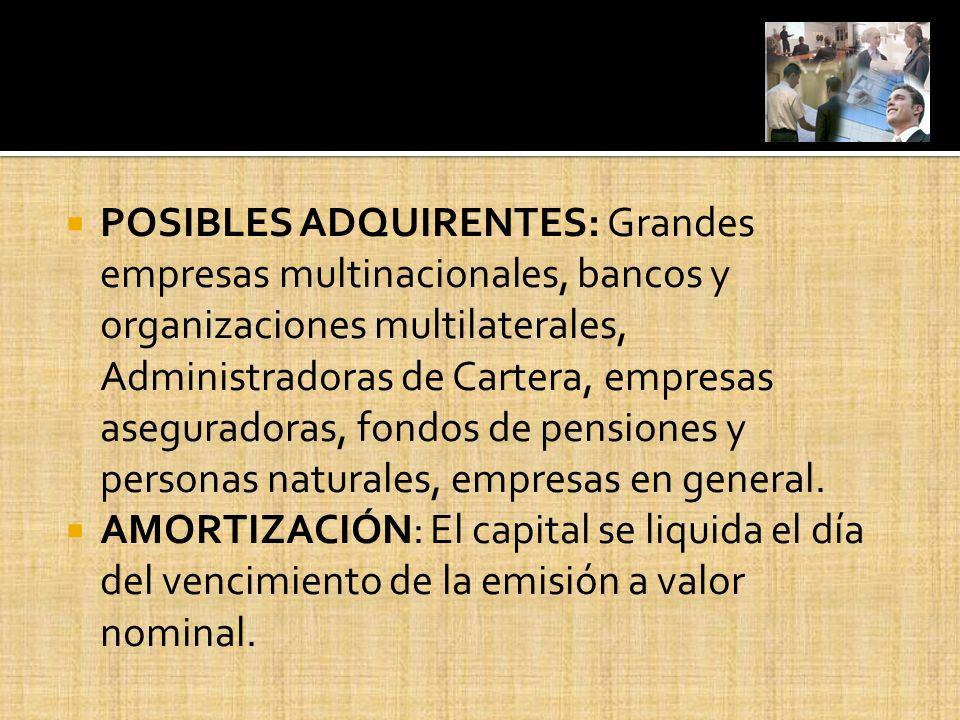 POSIBLES ADQUIRENTES: Grandes empresas multinacionales, bancos y organizaciones multilaterales, Administradoras de Cartera, empresas aseguradoras, fon