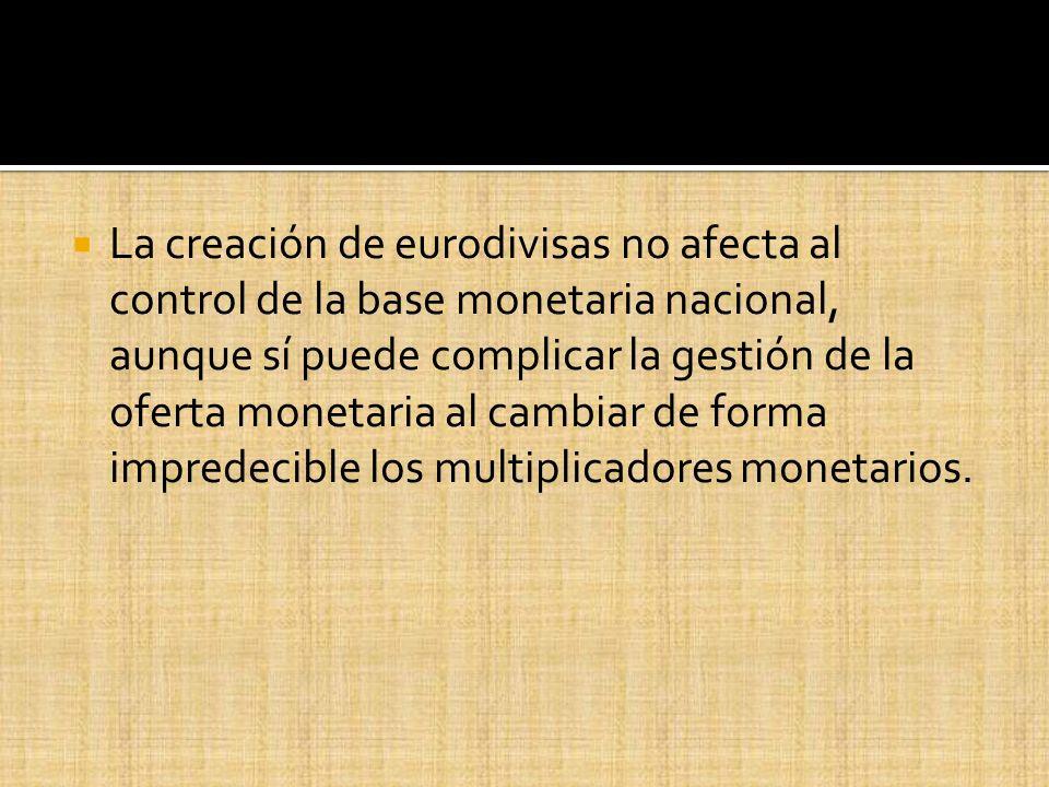 La creación de eurodivisas no afecta al control de la base monetaria nacional, aunque sí puede complicar la gestión de la oferta monetaria al cambiar