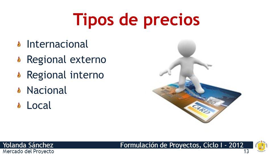 Yolanda Sánchez Formulación de Proyectos, Ciclo I - 2012 Tipos de precios Internacional Regional externo Regional interno Nacional Local Mercado del Proyecto13