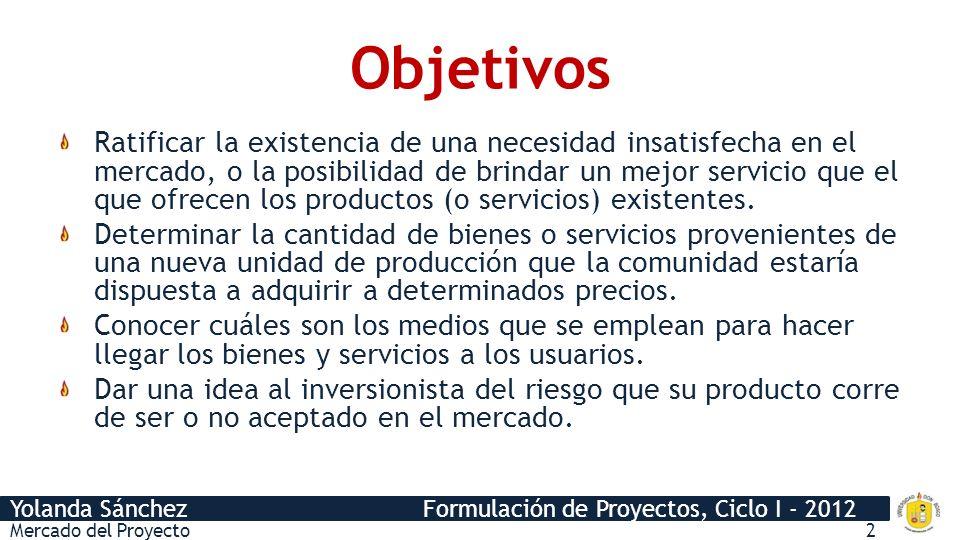 Yolanda Sánchez Formulación de Proyectos, Ciclo I - 2012 Objetivos Ratificar la existencia de una necesidad insatisfecha en el mercado, o la posibilid