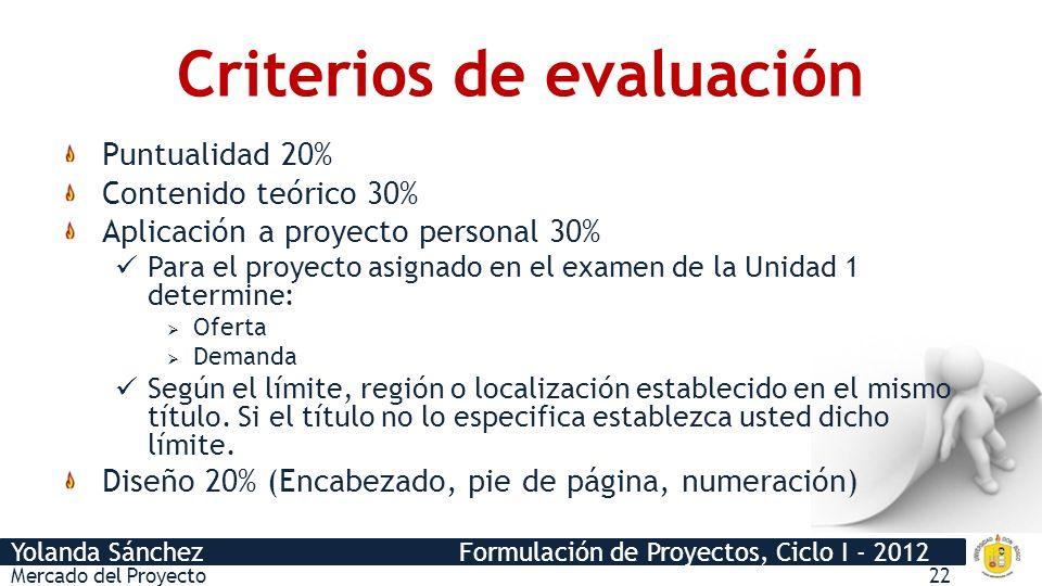 Yolanda Sánchez Formulación de Proyectos, Ciclo I - 2012 Criterios de evaluación Mercado del Proyecto22 Puntualidad 20% Contenido teórico 30% Aplicaci