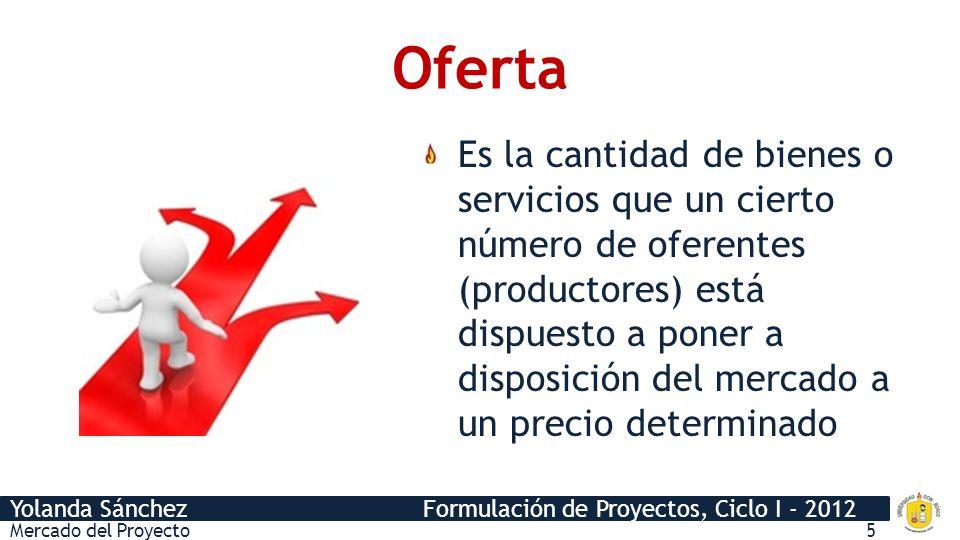 Yolanda Sánchez Formulación de Proyectos, Ciclo I - 2012 Oferta Es la cantidad de bienes o servicios que un cierto número de oferentes (productores) e