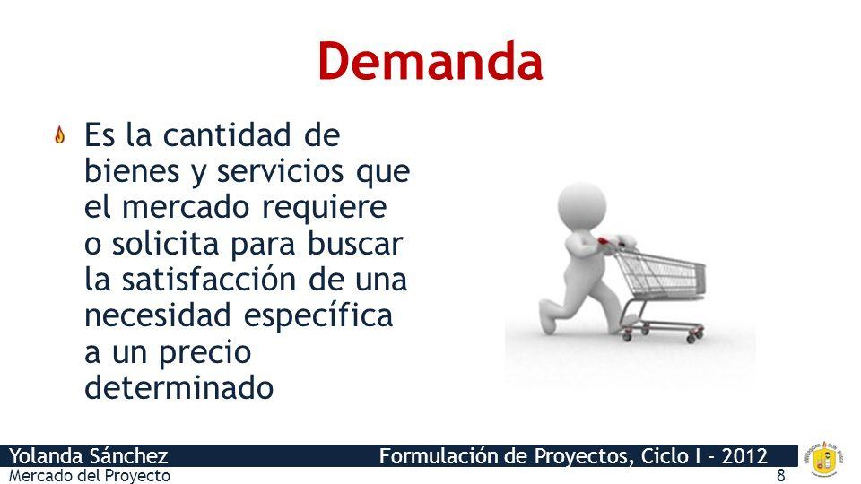 Yolanda Sánchez Formulación de Proyectos, Ciclo I - 2012 Demanda Es la cantidad de bienes y servicios que el mercado requiere o solicita para buscar la satisfacción de una necesidad específica a un precio determinado Mercado del Proyecto8