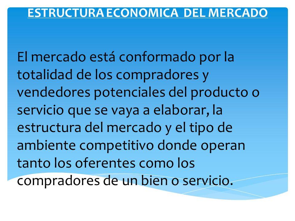 ESTRUCTURA ECONOMICA DEL MERCADO El mercado está conformado por la totalidad de los compradores y vendedores potenciales del producto o servicio que s
