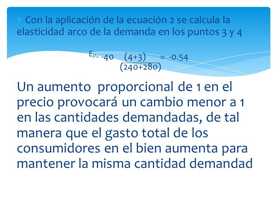 Con la aplicación de la ecuación 2 se calcula la elasticidad arco de la demanda en los puntos 3 y 4 E P= -40 (4+3) = -0.54 (240+280) Un aumento propor